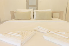 King size bed and net curtains bedrooms Royalty Free Stock Images