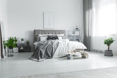 Messy bed in hotel room. King-size messy bed with bright bedclothes in stylish hotel room with plants royalty free stock images