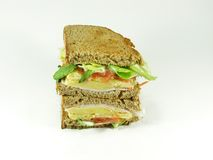 King size sandwich. Doble size salmon sandwich on farmhouse loaf Stock Images