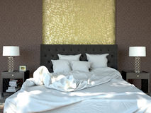 King sized bed in a business hotel room. 3D Royalty Free Stock Photo