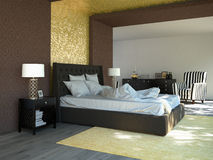 King sized bed in a business hotel room. 3D Royalty Free Stock Image