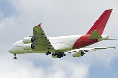 King of the Skies. The new Airbus A380 super-jumbo airliner, approaching for landing Stock Photography