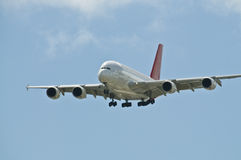 King of the Skies - A380. The new Airbus A380 super-jumbo airliner, approaching for landing Stock Photo