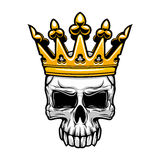King skull in royal gold crown Stock Image