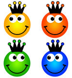 King smileys. In yellow, orange, green and blue Royalty Free Stock Photos