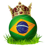 King of soccer football Brazil with cown and grass Stock Images