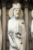 King Solomon. Notre Dame Cathedral, Paris, Portal of St. Anne royalty free stock photo