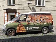 King Solomons Van. A restaurant supply van in the Jewish Quarter, Prague.  Parked near the Old-New Synagogue Royalty Free Stock Photo