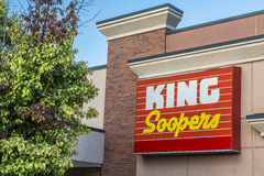 King Soopers supertmatket logo. FORT COLLINS, CO, USA - SEPTEMBER 16, 2014: King Soopers supermarket in Colorado, brand of Kroger, with a logo on their store royalty free stock photos