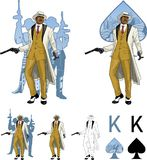 King of spades afroamerican mafioso godfather with Stock Photos