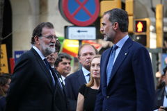 King of Spain and spanish prime minister at manifestation against terrorism Stock Photo