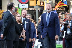 King of Spain and spanish prime minister at manifestation against terrorism Royalty Free Stock Images