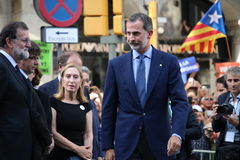 King of Spain and spanish prime minister at manifestation against terrorism Royalty Free Stock Photo