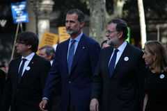 King of Spain and spanish prime minister at manifestation against terrorism Royalty Free Stock Photos