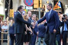 King of Spain and spanish prime minister at manifestation against terrorism Stock Image
