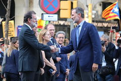 King of Spain and spanish prime minister at manifestation against terrorism Royalty Free Stock Photography