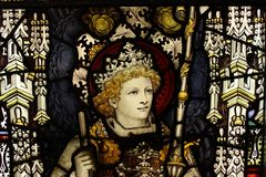 King. Stained glass from a cathedral, king with crown and royal insignia Royalty Free Stock Image