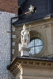 King statue on Wawel Castle is a castle residency. Built at the behest of King Casimir III the Grea Stock Image