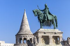 King Stephen horse statue in Budapest. King Stephen horse statue in Fishermen bastion, Budapest royalty free stock image