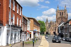 King Street and Cathedral, Hereford. Stock Image