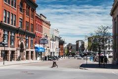 King Street Kingston Ontario. Looking down King Street in downtown Kingston, Ontario Canada from Clarence Street stock photos
