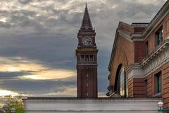 King Street Station Clock Tower. In Seattle Washington during Sunset Royalty Free Stock Image