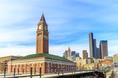 King Street Station. Seattle, Washington - March 5, 2015: King Street Station is a train station built in 1906, with clock tower as the local landmark royalty free stock image