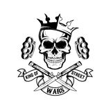 King of street wars. Skull in crown with banner and two crossed Royalty Free Stock Images