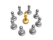 King surrounded by pawn. On white background Royalty Free Stock Photo