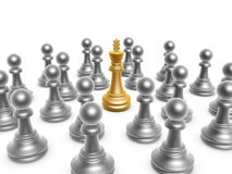 King surrounded by pawn. On white background Royalty Free Stock Photos