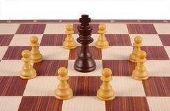 King surrounded by pawns Stock Images