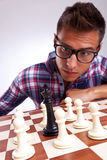 King surrounded by pawns Stock Photography