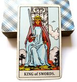 King of Swords Tarot Card Morals Ethics Manners Communication Conversation Debate Spokesperson Opinions Mental Discipline Reason. Intellectual Analytical stock image