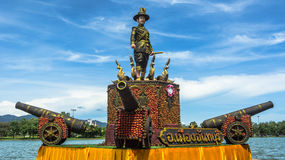 The king of thonburi statue. With dummy canons made of rambutans on Durian wolrd fair, Chanthaburi, Thailand Royalty Free Stock Photo