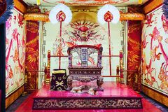 King throne chair in Ming Mang tomb in Hue Vietnam. Hue, Vietnam - February 19, 2016: King throne chair in Ming Mang tomb in Hue, Vietnam royalty free stock photography