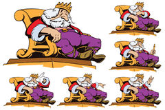 King on the throne in different poses. Stock illustration. Stock Photography