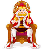 King on the throne. King sitting on the throne stock illustration