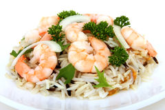 King tiger prawn shrimp on a bed of wild rice stock photos