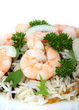King tiger prawn shrimp on a bed of wild rice Royalty Free Stock Images