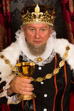 King toasting with wine. Medieval king toasting with wine in a golden goblet Stock Photography