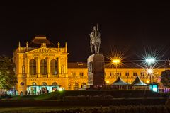 King Tomislav square and Main train station building. Night shot of Statue of King Tomislav with the Main train station building in the background Stock Image