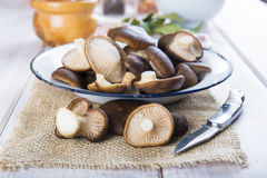 King trumpet mushrooms on the table of the kitchen Royalty Free Stock Photos