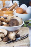 King trumpet mushrooms on the table of the kitchen Royalty Free Stock Images
