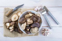 King trumpet mushrooms on the table of the kitchen Royalty Free Stock Photography