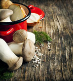 King trumpet mushrooms and vegetables for cooking soup Royalty Free Stock Images