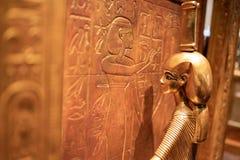 King Tutankhamun Egyptian exhibit on the display stock image