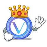 King VeChain coin mascot cartoon. Vector illustration Royalty Free Stock Images
