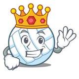 King volley ball character cartoon. Vector illustration Royalty Free Stock Photo