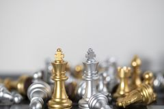King VS King for the chess strategy to win the game. Chess board is the intelligence strategy game to make ideas for business and marketing concept, the success stock images