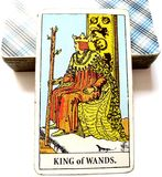 King of Wands Tarot Card Dynamic  Powerful  Strong  Leader  Ruler  Boss  Director  Experienced  Mentor  Role-Model  Goal-Sette Royalty Free Stock Photo